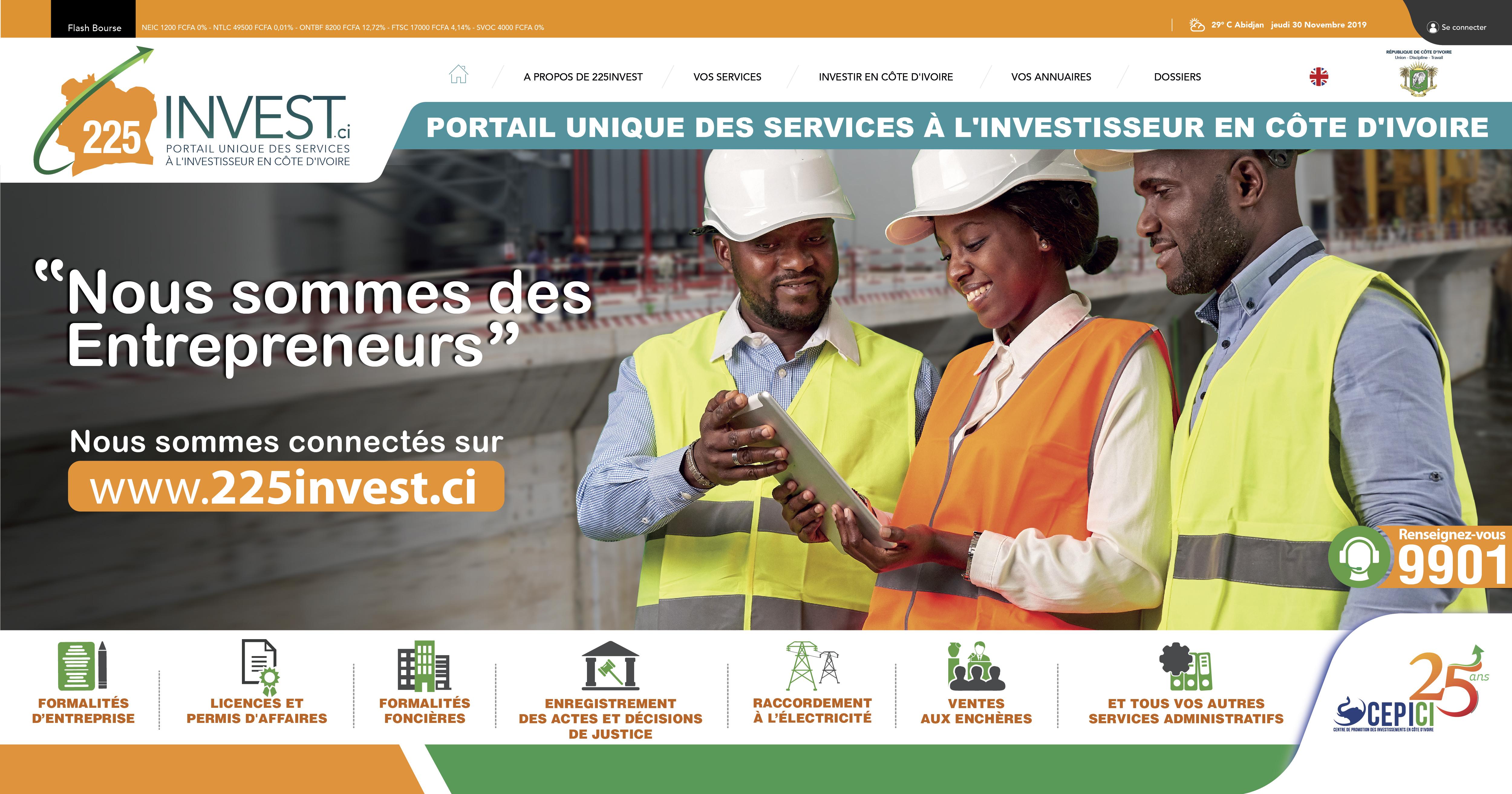 Image 225invest.ci, le portail qui révolutionne l'environnement des affaires en Côte d'Ivoire.